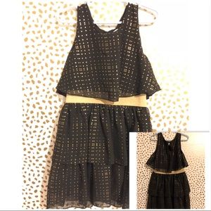 Justice size 5 black and gold party dress.